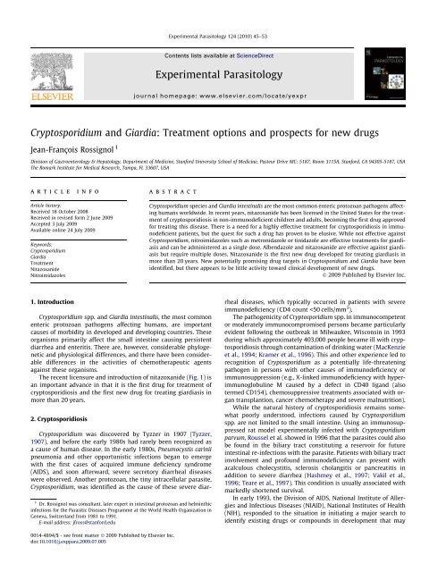 Cryptosporidium and giardia parasites, Cryptosporidium and giardia parasites
