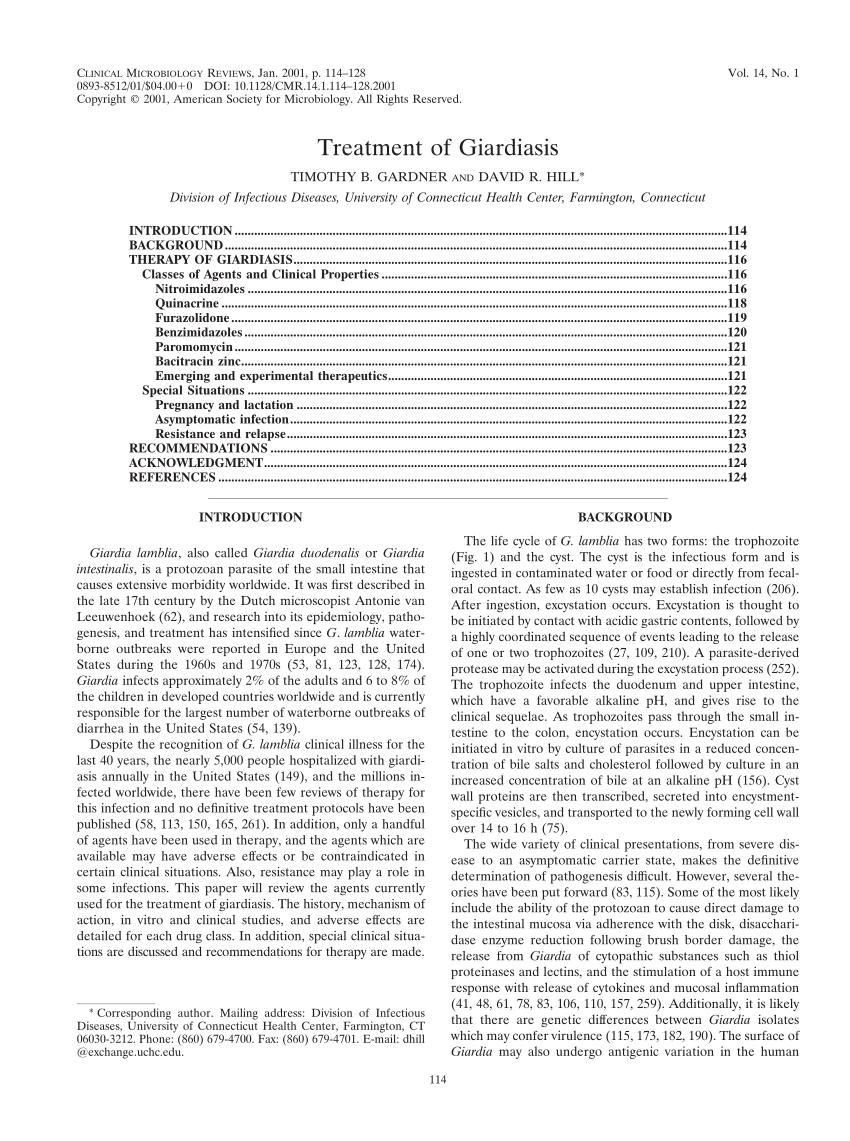 giardia exposure in pregnancy otodektin parazitaellenes gyógyszer 5ml