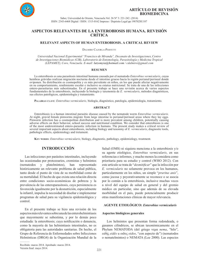 helminth tojás teszt és enterobiosis